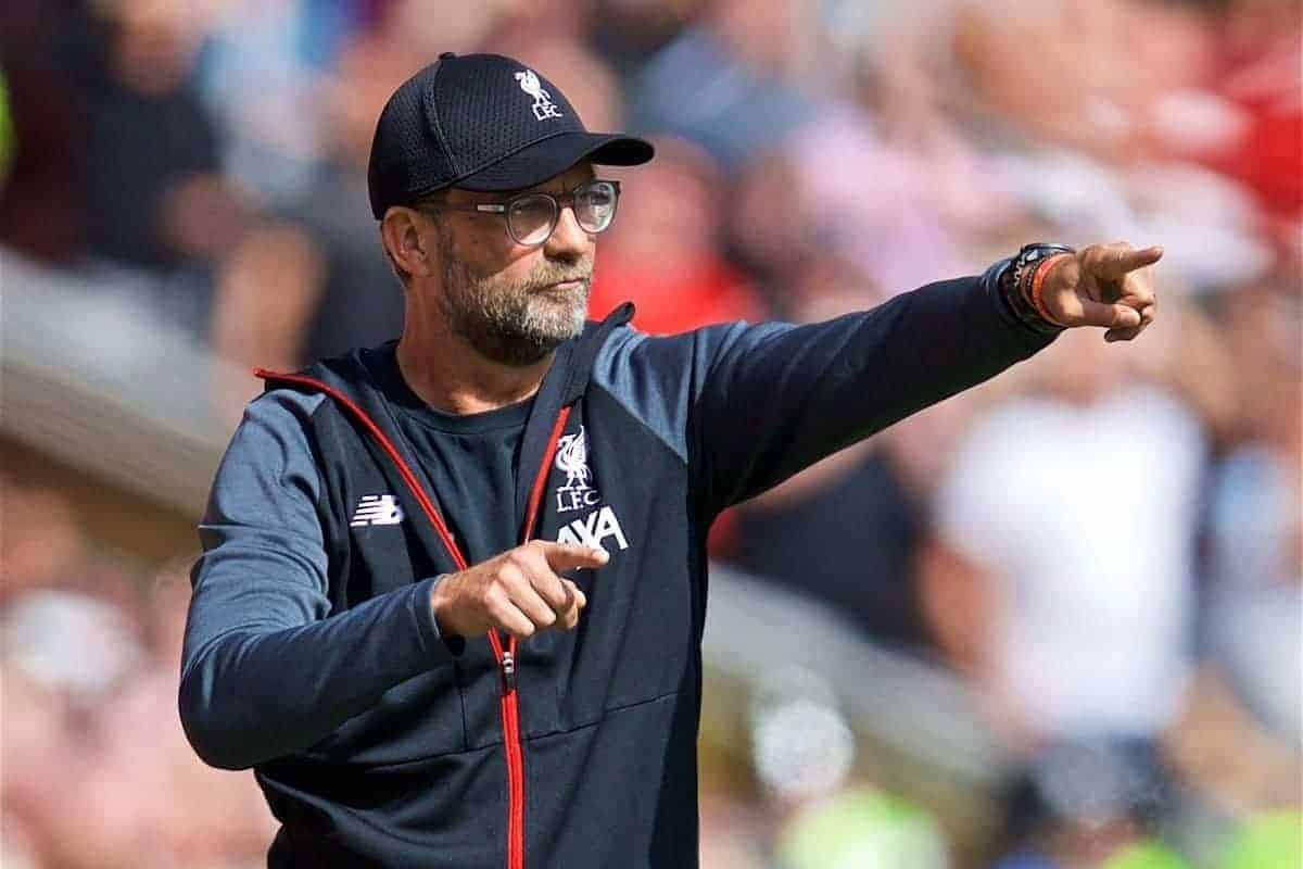 LIVERPOOL, ENGLAND - Saturday, September 14, 2019: Liverpool's manager Jürgen Klopp during the FA Premier League match between Liverpool FC and Newcastle United FC at Anfield. (Pic by David Rawcliffe/Propaganda)