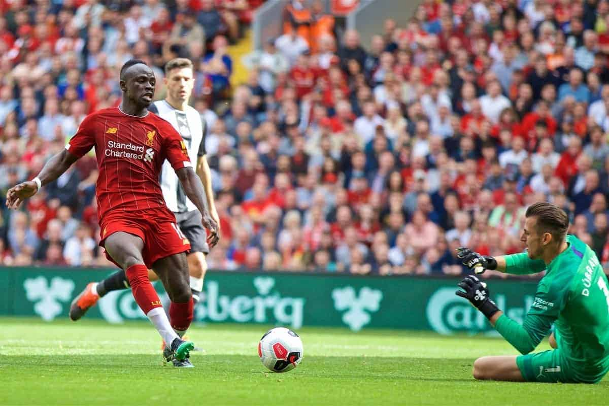 LIVERPOOL, ENGLAND - Saturday, September 14, 2019: Liverpool's Sadio Mane challenges Newcastle United's goalkeeper Martin Dúbravka before scoring the second goal during the FA Premier League match between Liverpool FC and Newcastle United FC at Anfield. (Pic by David Rawcliffe/Propaganda)