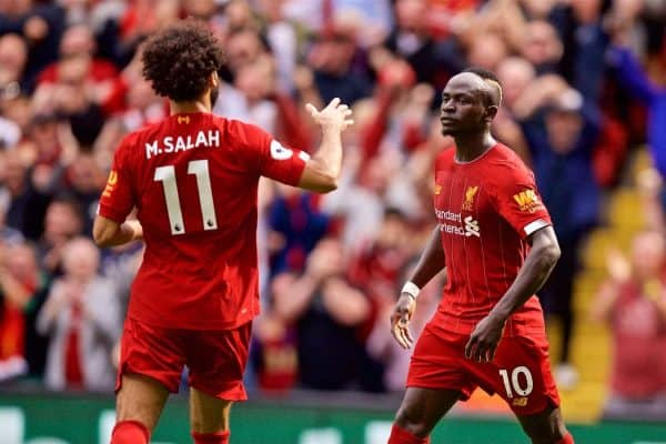 LIVERPOOL, ENGLAND - Saturday, September 14, 2019: Liverpool's Sadio Mane (R) celebrates scoring the second goal with team-mate Mohamed Salah (L) during the FA Premier League match between Liverpool FC and Newcastle United FC at Anfield. (Pic by David Rawcliffe/Propaganda)