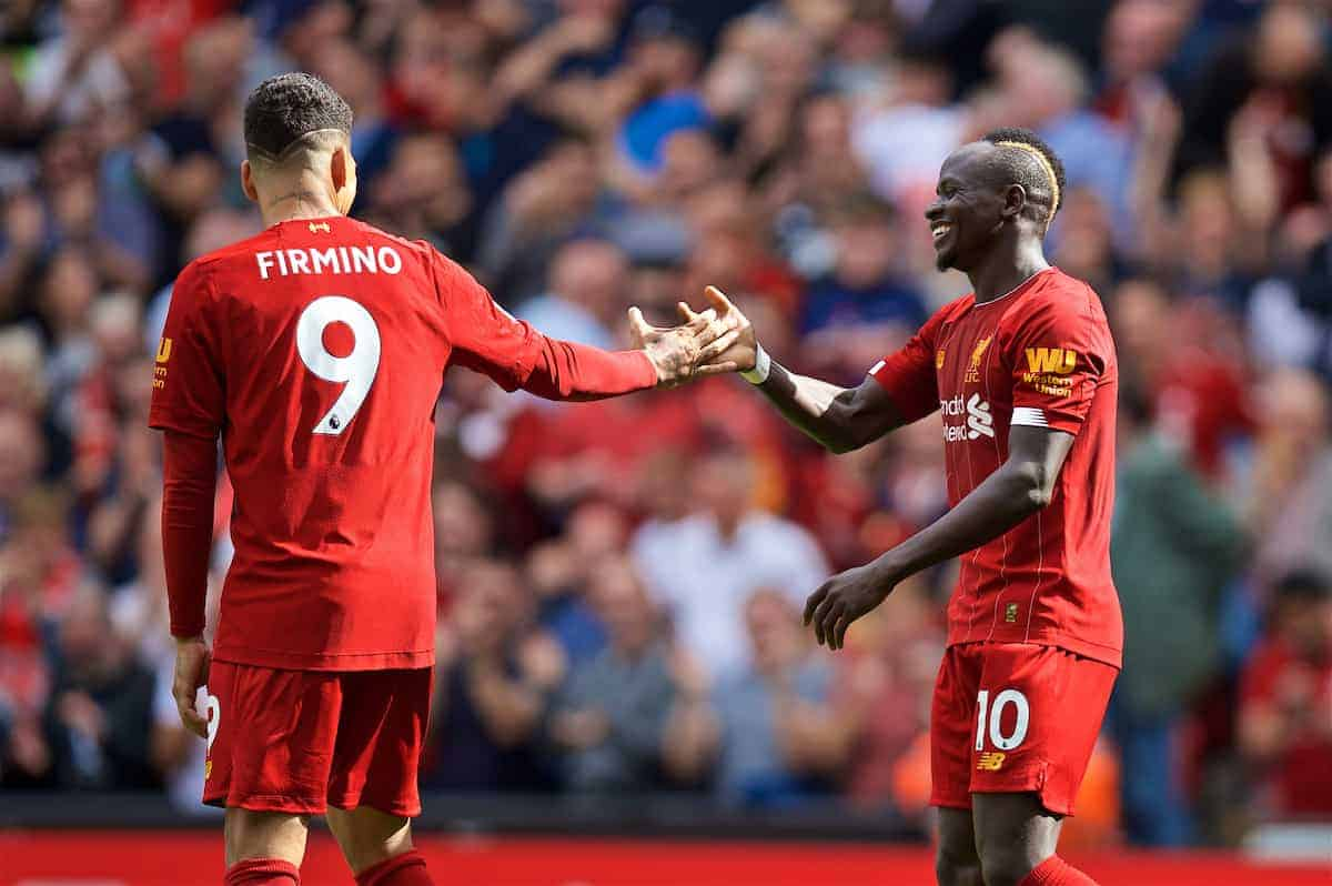 LIVERPOOL, ENGLAND - Saturday, September 14, 2019: Liverpool's Sadio Mane (R) celebrates scoring the second goal with team-mate Roberto Firmino (L) during the FA Premier League match between Liverpool FC and Newcastle United FC at Anfield. (Pic by David Rawcliffe/Propaganda)