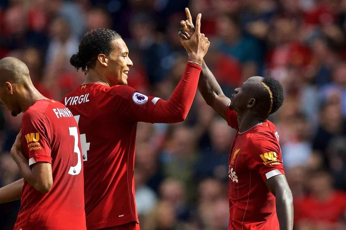 LIVERPOOL, ENGLAND - Saturday, September 14, 2019: Liverpool's Sadio Mane (R) celebrates scoring the second goal with team-mate Virgil van Dijk (L) during the FA Premier League match between Liverpool FC and Newcastle United FC at Anfield. (Pic by David Rawcliffe/Propaganda)