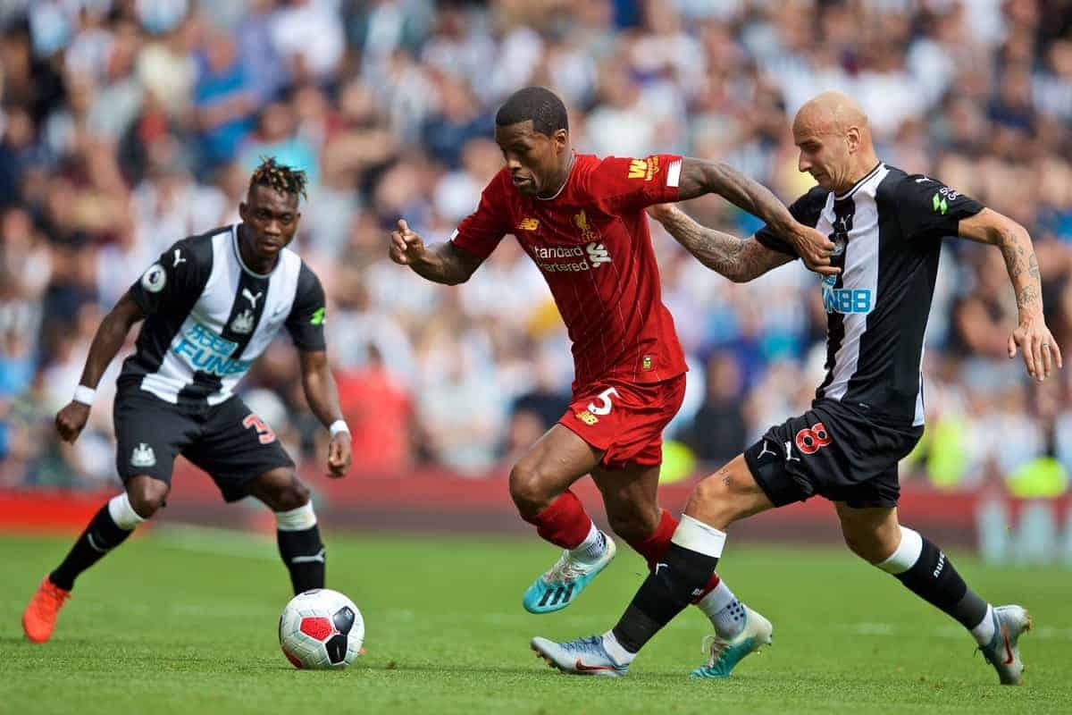 LIVERPOOL, ENGLAND - Saturday, September 14, 2019: Liverpool's Georginio Wijnaldum (C) and Newcastle United's Jonjo Shelvey during the FA Premier League match between Liverpool FC and Newcastle United FC at Anfield. (Pic by David Rawcliffe/Propaganda)