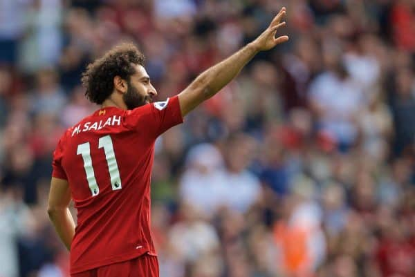 LIVERPOOL, ENGLAND - Saturday, September 14, 2019: Liverpool's Mohamed Salah celebrates scoring the third goal during the FA Premier League match between Liverpool FC and Newcastle United FC at Anfield. (Pic by David Rawcliffe/Propaganda)
