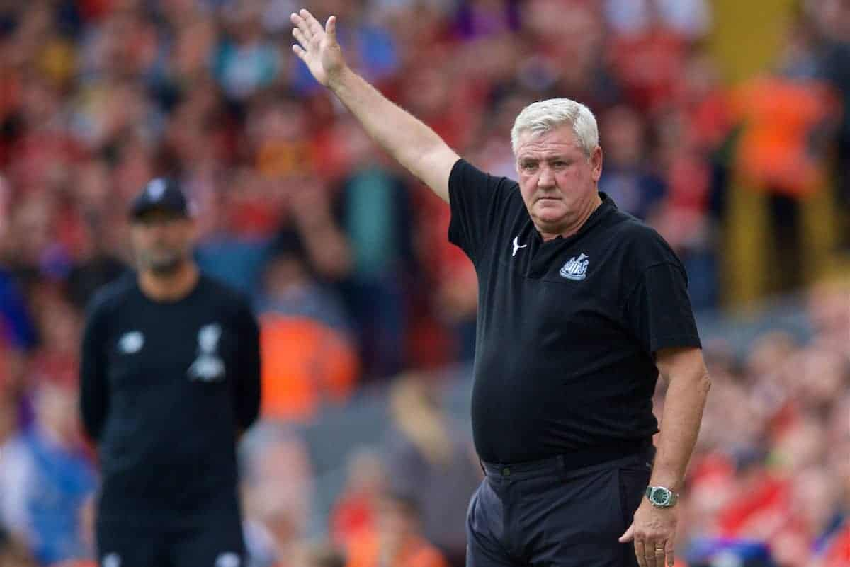 LIVERPOOL, ENGLAND - Saturday, September 14, 2019: Newcastle United's manager Steve Bruce during the FA Premier League match between Liverpool FC and Newcastle United FC at Anfield. (Pic by David Rawcliffe/Propaganda)