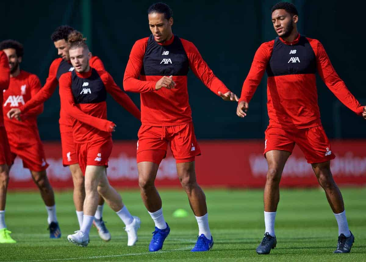 LIVERPOOL, ENGLAND - Monday, September 16, 2019: Liverpool's Virgil van Dijk and Joe Gomez during a training session at Melwood Training Ground ahead of the UEFA Champions League Group E match between SSC Napoli and Liverpool FC. (Pic by Laura Malkin/Propaganda)