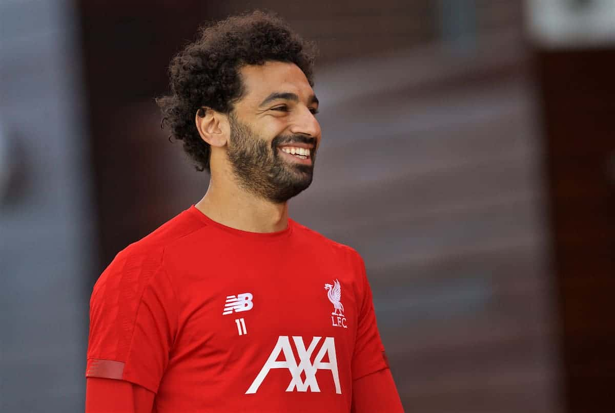 LIVERPOOL, ENGLAND - Monday, September 16, 2019: Liverpool's Mohamed Salah during a training session at Melwood Training Ground ahead of the UEFA Champions League Group E match between SSC Napoli and Liverpool FC. (Pic by Laura Malkin/Propaganda)