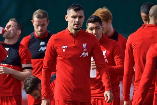 LIVERPOOL, ENGLAND - Monday, September 16, 2019: Liverpool's Dejan Lovren during a training session at Melwood Training Ground ahead of the UEFA Champions League Group E match between SSC Napoli and Liverpool FC. (Pic by Laura Malkin/Propaganda)