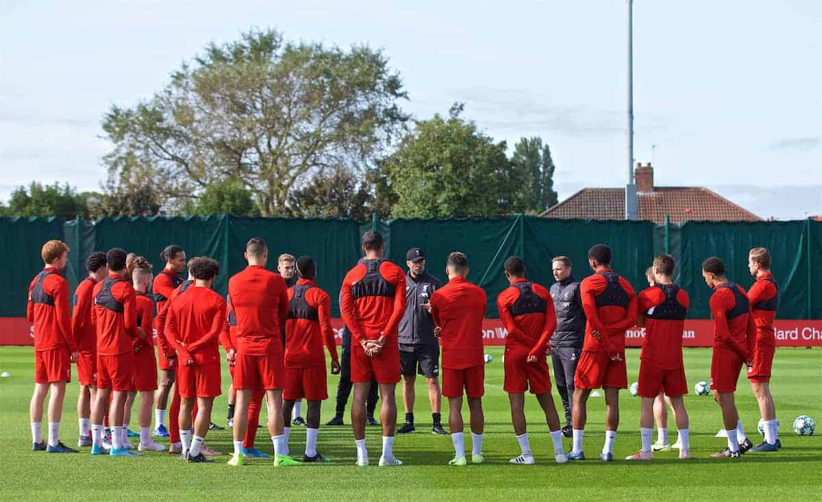 LIVERPOOL, ENGLAND - Monday, September 16, 2019: Liverpool's manager Jürgen Klopp speaks to his squad during a training session at Melwood Training Ground ahead of the UEFA Champions League Group E match between SSC Napoli and Liverpool FC. (Pic by Laura Malkin/Propaganda)