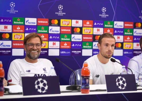 NAPLES, ITALY - Monday, September 16, 2019: Liverpool's manager Jürgen Klopp (L) and captain Jordan Henderson during a press conference at the Stadio San Paolo ahead of the UEFA Champions League Group E match between SSC Napoli and Liverpool FC. (Pic by David Rawcliffe/Propaganda)