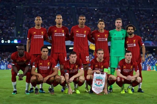 NAPLES, ITALY - Tuesday, September 17, 2019: Liverpool's players line-up for a team group photograph before the UEFA Champions League Group E match between SSC Napoli and Liverpool FC at the Studio San Paolo. Back row L-R: Fabio Henrique Tavares 'Fabinho', Virgil van Dijk, Joel Matip, Naby Keita, goalkeeper Adrián San Miguel del Castillo.Mohamed Salah. Front row L-R: Sadio Mane, Trent Alexander-Arnold, James Milner, captain Jordan Henderson, Andy Robertson. (Pic by David Rawcliffe/Propaganda)