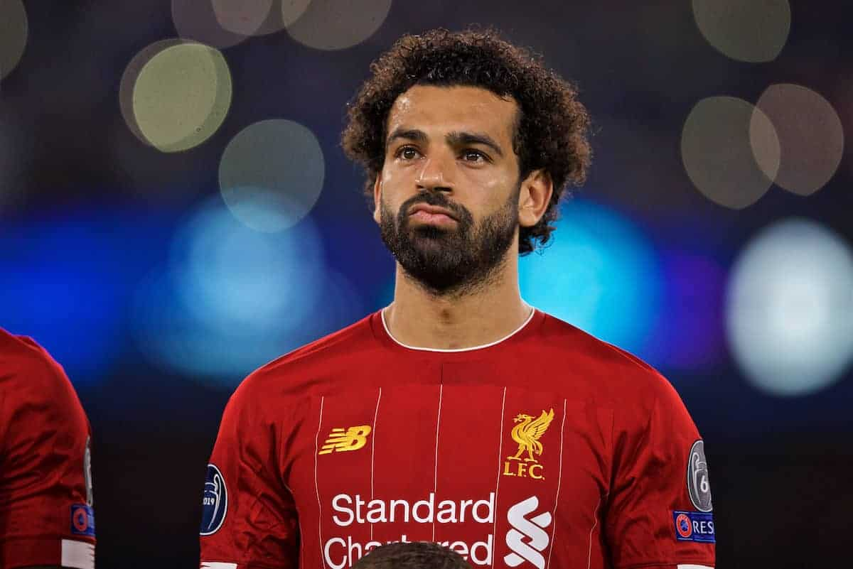 NAPLES, ITALY - Tuesday, September 17, 2019: Liverpool's Mohamed Salah before the UEFA Champions League Group E match between SSC Napoli and Liverpool FC at the Studio San Paolo. (Pic by David Rawcliffe/Propaganda)