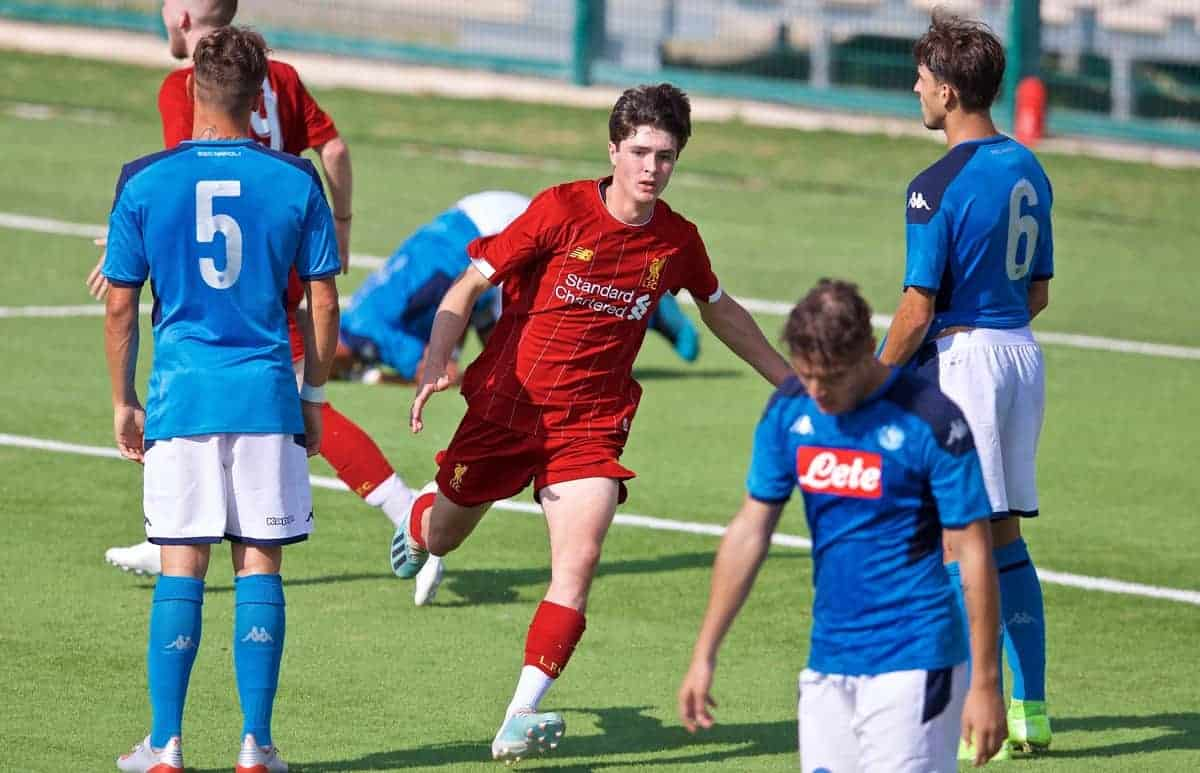 NAPLES, ITALY - Tuesday, September 17, 2019: Liverpool's substitute Layton Stewart celebrates scoring an equalising goal to level the score 1-1 during the UEFA Youth League Group E match between SSC Napoli and Liverpool FC at Stadio Comunale di Frattamaggiore. (Pic by David Rawcliffe/Propaganda)