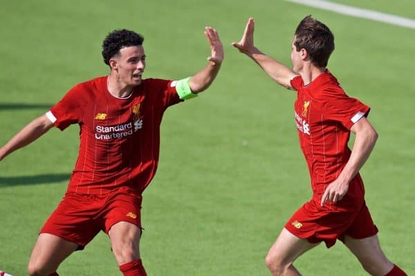 NAPLES, ITALY - Tuesday, September 17, 2019: Liverpool's substitute Layton Stewart (R) celebrates scoring an equalising goal to level the score 1-1 with team-mate captain Curtis Jones during the UEFA Youth League Group E match between SSC Napoli and Liverpool FC at Stadio Comunale di Frattamaggiore. The game ended in a 1-1 draw. (Pic by David Rawcliffe/Propaganda)