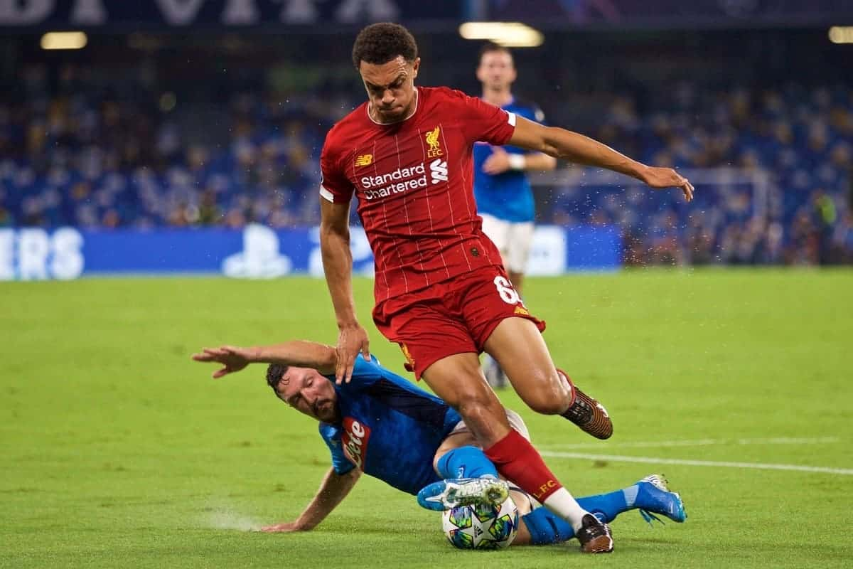 NAPLES, ITALY - Tuesday, September 17, 2019: Liverpool's Trent Alexander-Arnold is tackled by SSC Napoli's Mário Rui during the UEFA Champions League Group E match between SSC Napoli and Liverpool FC at the Studio San Paolo. (Pic by David Rawcliffe/Propaganda)