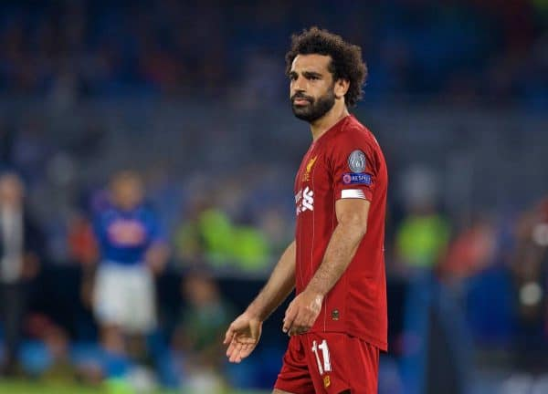 Liverpool's Mohamed Salah looks dejected after missing a chance during the UEFA Champions League Group E match between SSC Napoli and Liverpool FC at the Studio San Paolo. (Pic by David Rawcliffe/Propaganda)