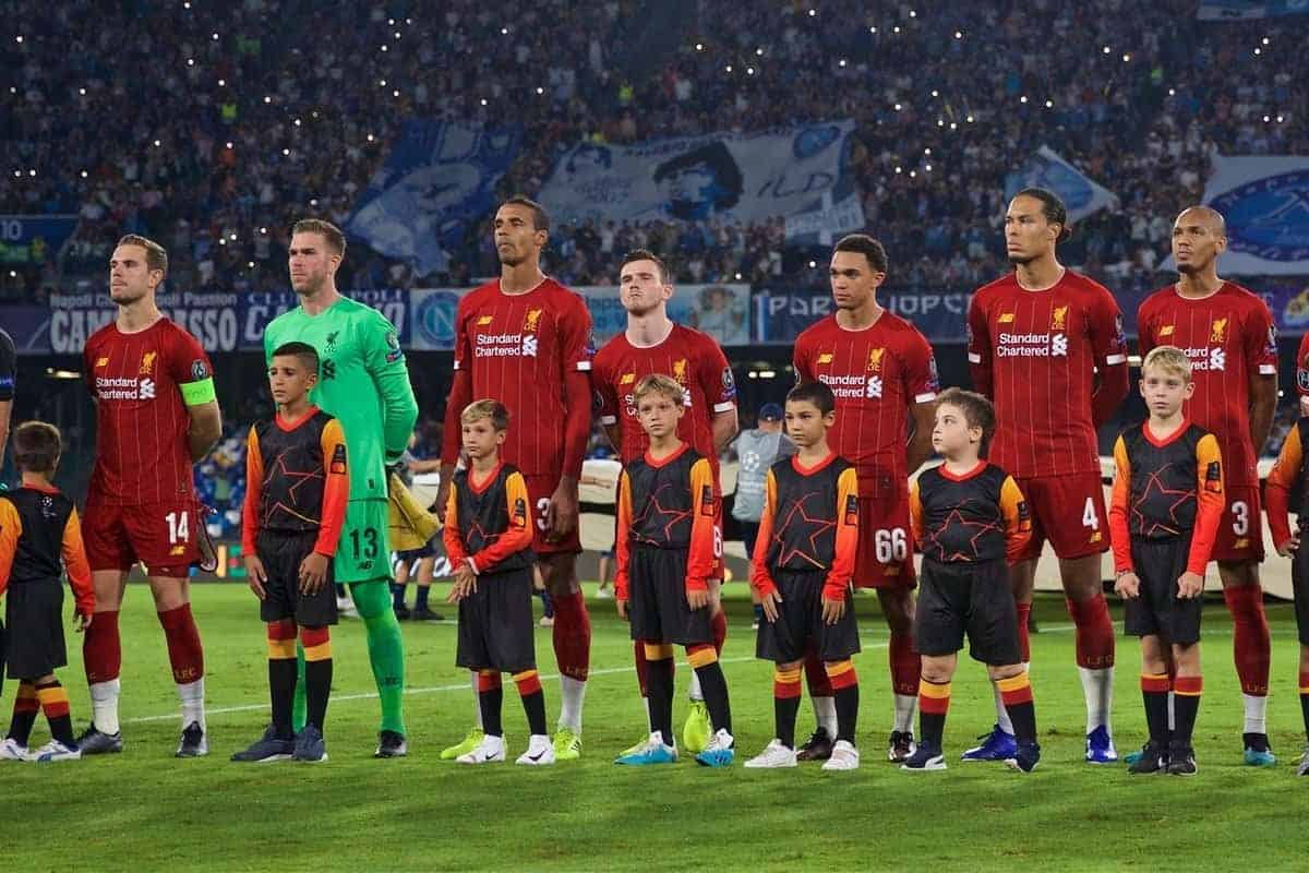 NAPLES, ITALY - Tuesday, September 17, 2019: Liverpool players line-up before the UEFA Champions League Group E match between SSC Napoli and Liverpool FC at the Studio San Paolo. L-R captain Jordan Henderson, goalkeeper Adrián San Miguel del Castillo, Joel Matip, Andy Robertson, Trent Alexander-Arnold, Virgil van Dijk, Fabio Henrique Tavares 'Fabinho', James Milner, Roberto Firmino, Sadio Mane, Mohamed Salah. (Pic by David Rawcliffe/Propaganda)