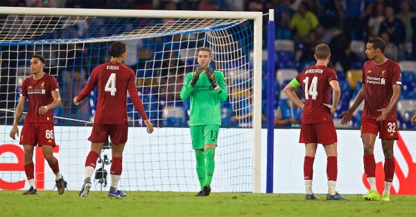 Liverpool's goalkeeper Adrián San Miguel del Castillo looks dejected as a penalty is awarded to SSC Napoli during the UEFA Champions League Group E match between SSC Napoli and Liverpool FC at the Studio San Paolo. (Pic by David Rawcliffe/Propaganda)