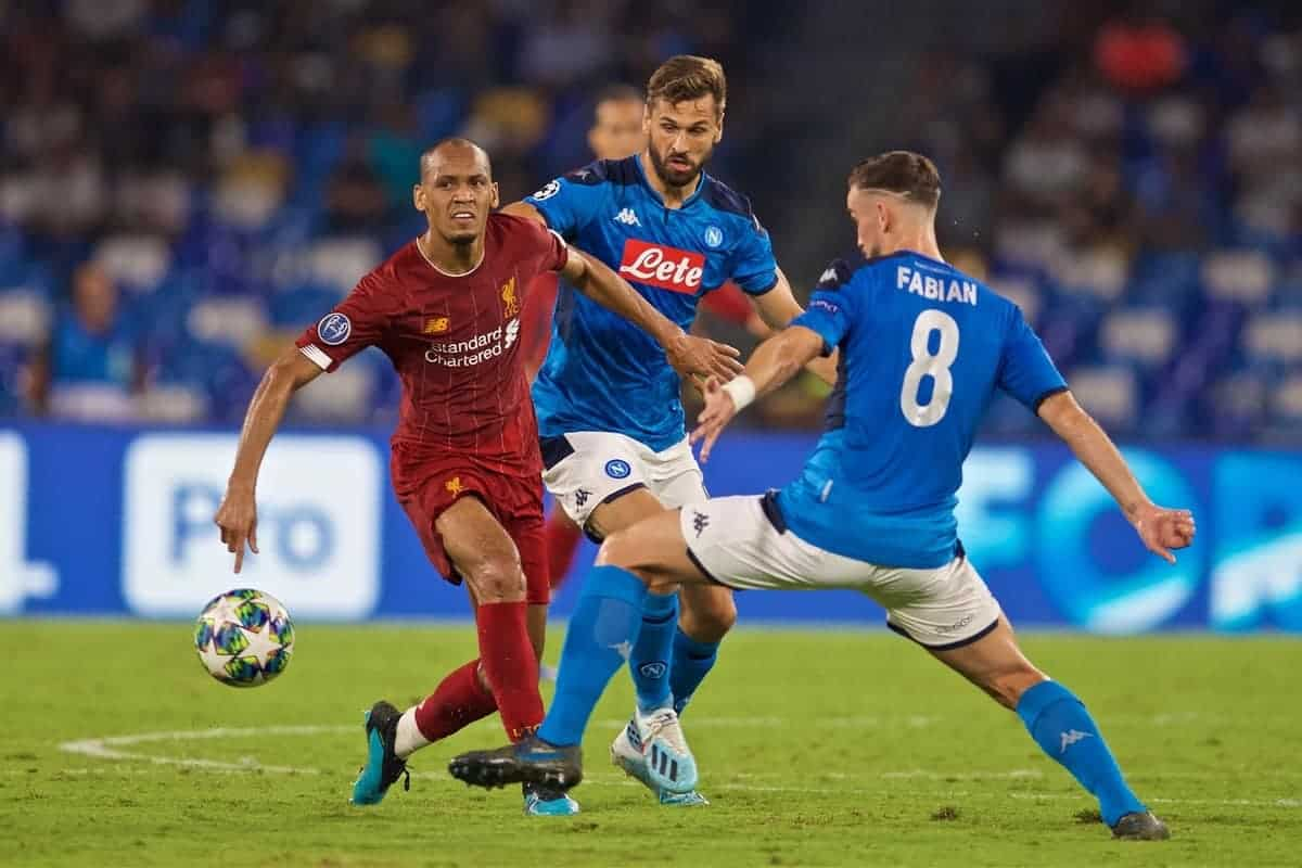 NAPLES, ITALY - Tuesday, September 17, 2019: Liverpool's Fabio Henrique Tavares 'Fabinho' during the UEFA Champions League Group E match between SSC Napoli and Liverpool FC at the Studio San Paolo. (Pic by David Rawcliffe/Propaganda)