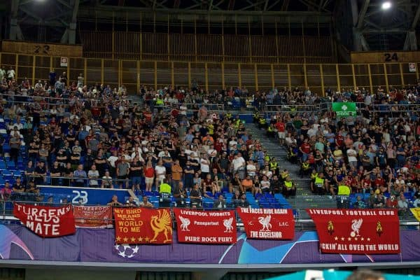 NAPLES, ITALY - Tuesday, September 17, 2019: Liverpool supporters during the UEFA Champions League Group E match between SSC Napoli and Liverpool FC at the Studio San Paolo. (Pic by David Rawcliffe/Propaganda)
