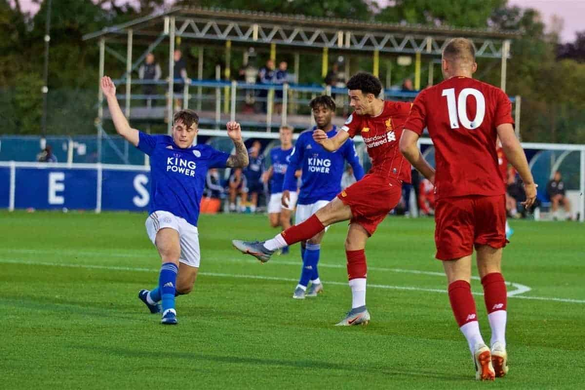 LEICESTER, ENGLAND - Friday, September 20, 2019: Liverpool's captain Curtis Jones scores the first goal during the Under-23 FA Premier League 2 Division 1 match between Leicester City FC and Liverpool FC at Holmes Park. (Pic by David Rawcliffe/Propaganda)
