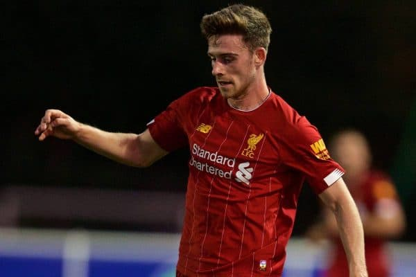 LEICESTER, ENGLAND - Friday, September 20, 2019: Liverpool's Tony Gallacher during the Under-23 FA Premier League 2 Division 1 match between Leicester City FC and Liverpool FC at Holmes Park. (Pic by David Rawcliffe/Propaganda)