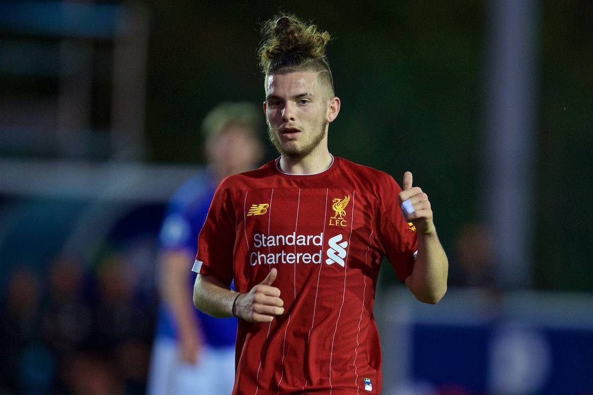 LEICESTER, ENGLAND - Friday, September 20, 2019: Liverpool's Harvey Elliott during the Under-23 FA Premier League 2 Division 1 match between Leicester City FC and Liverpool FC at Holmes Park. (Pic by David Rawcliffe/Propaganda)