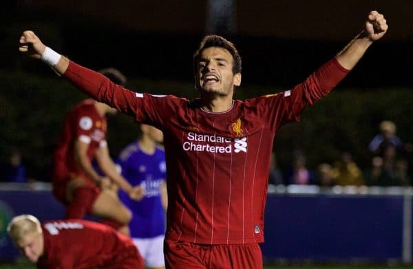 LEICESTER, ENGLAND - Friday, September 20, 2019: Liverpool's Pedro Chirivella celebrates after team-mate Luis Longstaff scores an injury time equalising goal during the Under-23 FA Premier League 2 Division 1 match between Leicester City FC and Liverpool FC at Holmes Park. The game ended in a 2-2 draw. (Pic by David Rawcliffe/Propaganda)