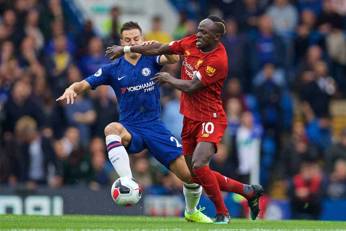 LONDON, ENGLAND - Sunday, September 22, 2019: Chelsea's 's Cesar Azpilicueta (L) tackles Liverpool's Sadio Mane during the FA Premier League match between Chelsea's FC and Liverpool FC at Stamford Bridge. (Pic by David Rawcliffe/Propaganda)