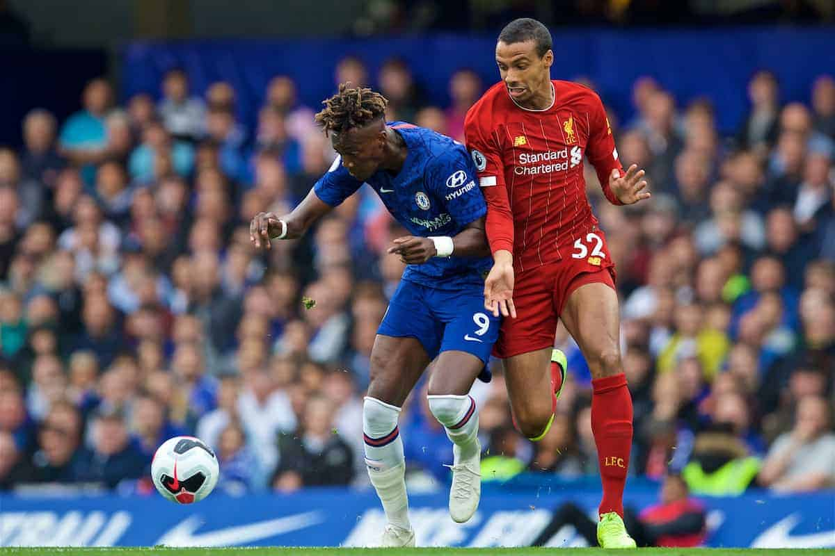 LONDON, ENGLAND - Sunday, September 22, 2019: Chelsea's Tammy Abraham (L) and Liverpool's Joel Matip (R) during the FA Premier League match between Chelsea's FC and Liverpool FC at Stamford Bridge. (Pic by David Rawcliffe/Propaganda)