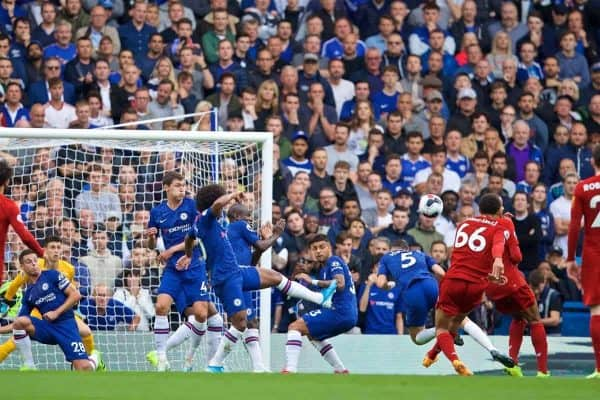 LONDON, ENGLAND - Sunday, September 22, 2019: Liverpool's Trent Alexander-Arnold scores the first goal during the FA Premier League match between Chelsea's FC and Liverpool FC at Stamford Bridge. (Pic by David Rawcliffe/Propaganda)
