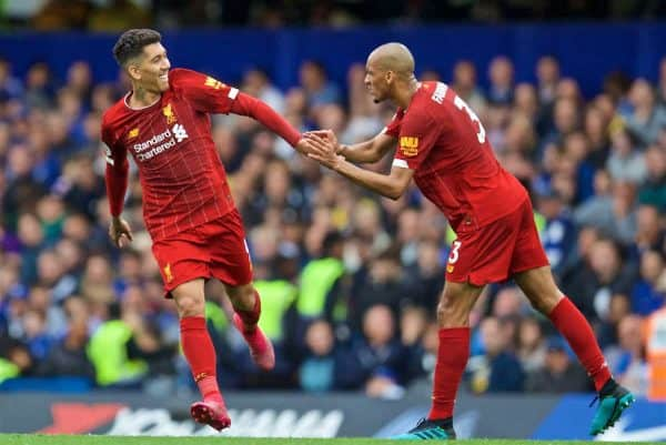 LONDON, ENGLAND - Sunday, September 22, 2019: Liverpool's Roberto Firmino (L) celebrates scoring the second goal with team-mate Fabio Henrique Tavares 'Fabinho' during the FA Premier League match between Chelsea's FC and Liverpool FC at Stamford Bridge. (Pic by David Rawcliffe/Propaganda)