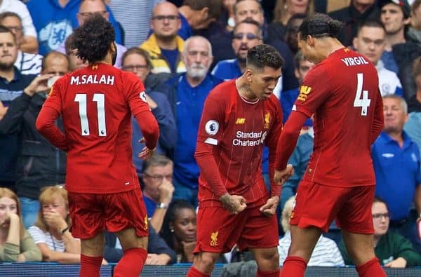 LONDON, ENGLAND - Sunday, September 22, 2019: Liverpool's Roberto Firmino (C) celebrates scoring the second goal during the FA Premier League match between Chelsea's FC and Liverpool FC at Stamford Bridge. (Pic by David Rawcliffe/Propaganda)