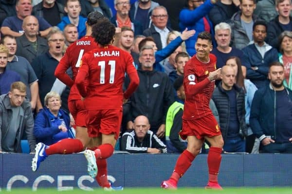 LONDON, ENGLAND - Sunday, September 22, 2019: Liverpool's Roberto Firmino celebrates scoring the second goal during the FA Premier League match between Chelsea's FC and Liverpool FC at Stamford Bridge. (Pic by David Rawcliffe/Propaganda)