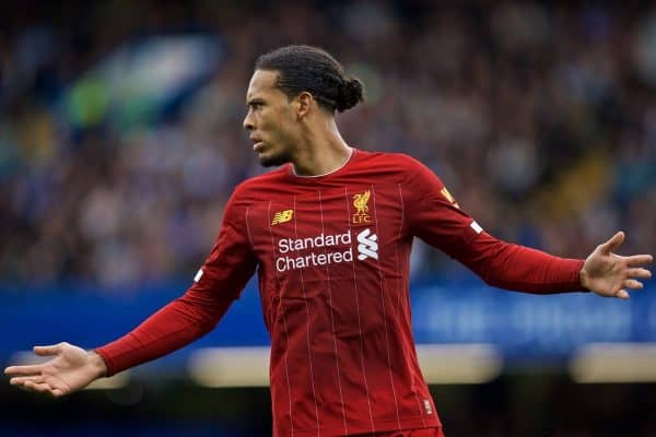 Liverpool's Virgil van Dijk during the FA Premier League match between Chelsea's FC and Liverpool FC at Stamford Bridge. (Pic by David Rawcliffe/Propaganda)