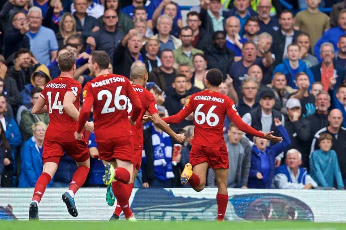 LONDON, ENGLAND - Sunday, September 22, 2019: Liverpool's Trent Alexander-Arnold celebrates scoring the first goal during the FA Premier League match between Chelsea's FC and Liverpool FC at Stamford Bridge. (Pic by David Rawcliffe/Propaganda)