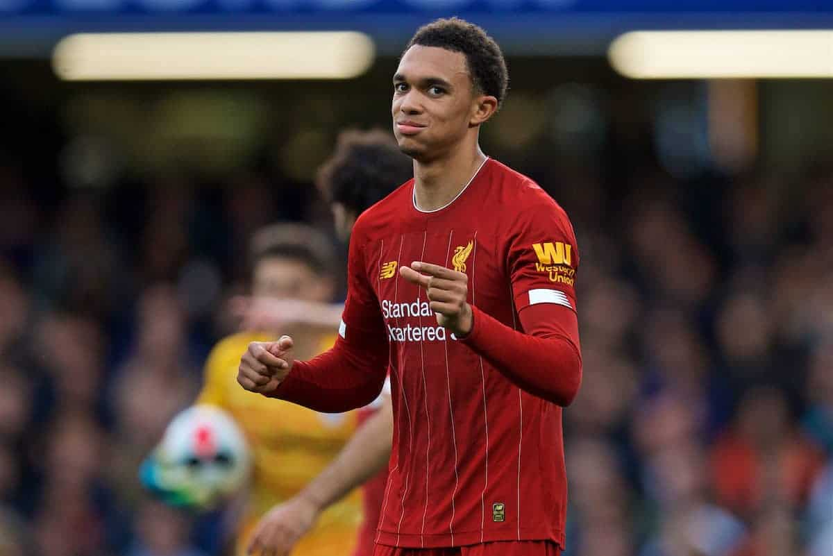 LONDON, ENGLAND - Sunday, September 22, 2019: Liverpool's Trent Alexander-Arnold during the FA Premier League match between Chelsea's FC and Liverpool FC at Stamford Bridge. (Pic by David Rawcliffe/Propaganda)