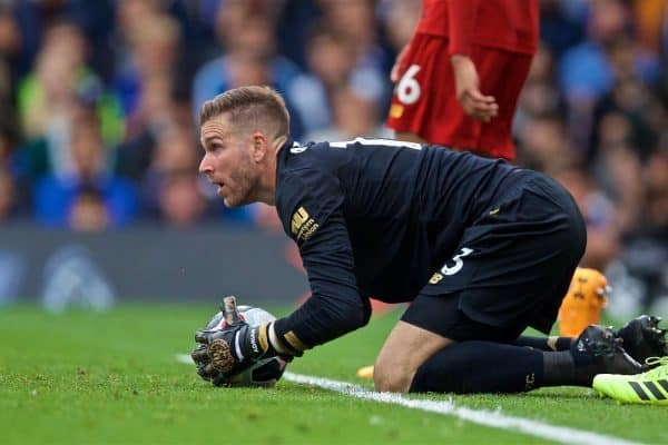 LONDON, ENGLAND - Sunday, September 22, 2019: Liverpool's goalkeeper Adrián San Miguel del Castillo during the FA Premier League match between Chelsea's FC and Liverpool FC at Stamford Bridge. (Pic by David Rawcliffe/Propaganda)
