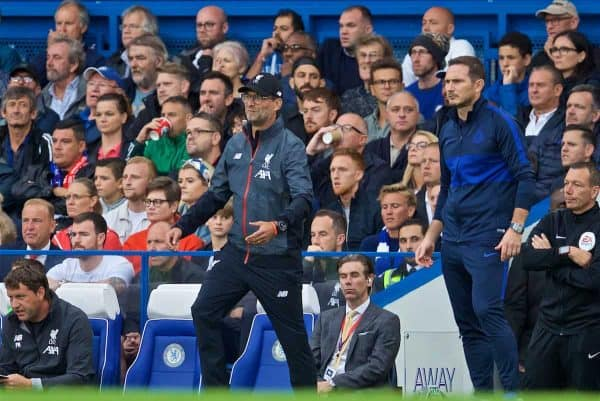 LONDON, ENGLAND - Sunday, September 22, 2019: Liverpool's manager Jürgen Klopp (L) and Chelsea's manager Frank Lampard during the FA Premier League match between Chelsea's FC and Liverpool FC at Stamford Bridge. (Pic by David Rawcliffe/Propaganda)