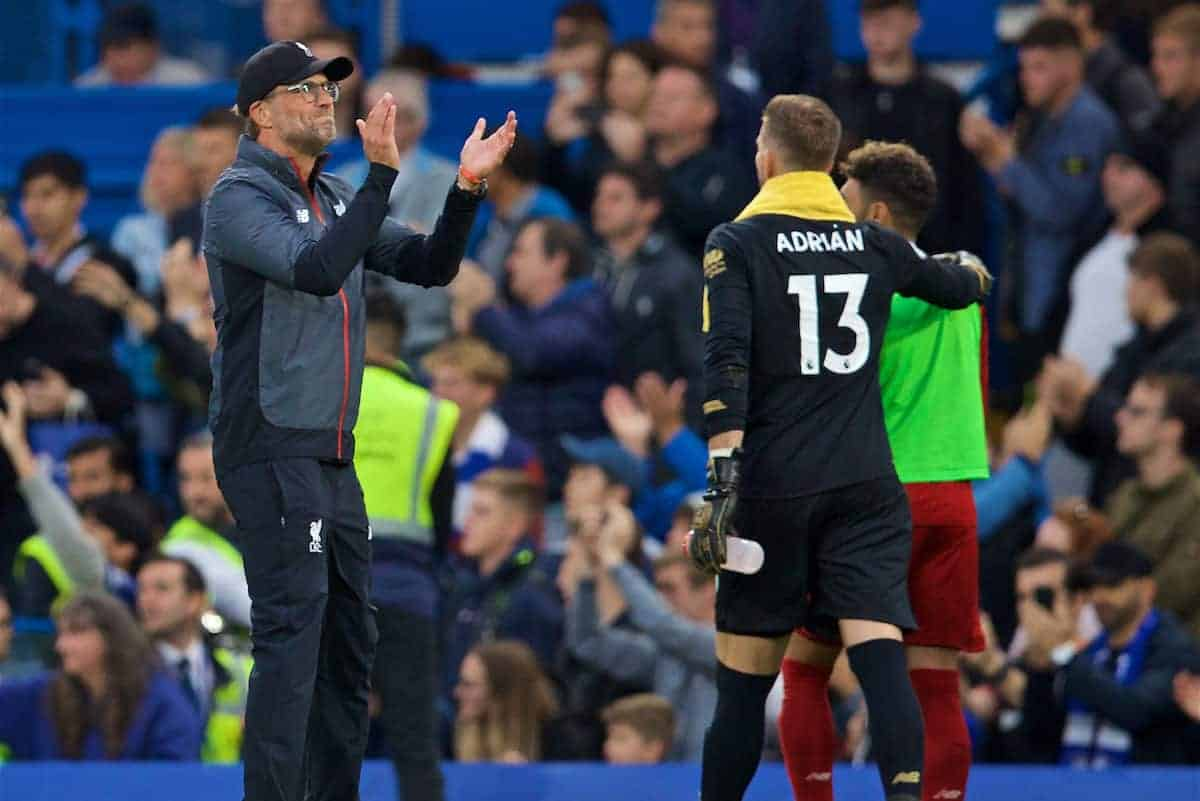 LONDON, ENGLAND - Sunday, September 22, 2019: Liverpool's manager Jürgen Klopp celebrates after the FA Premier League match between Chelsea's FC and Liverpool FC at Stamford Bridge. Liverpool won 2-1. (Pic by David Rawcliffe/Propaganda)