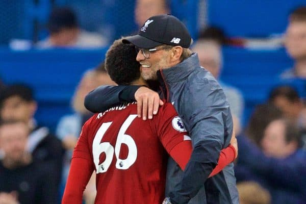 LONDON, ENGLAND - Sunday, September 22, 2019: Liverpool's manager Jürgen Klopp celebrates with Trent Alexander-Arnold after the FA Premier League match between Chelsea's FC and Liverpool FC at Stamford Bridge. Liverpool won 2-1. (Pic by David Rawcliffe/Propaganda)