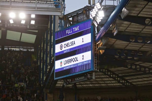 LONDON, ENGLAND - Sunday, September 22, 2019: Chelsea's scoreboard records the 2-1 victory for Liverpool after the FA Premier League match between Chelsea's FC and Liverpool FC at Stamford Bridge. (Pic by David Rawcliffe/Propaganda)