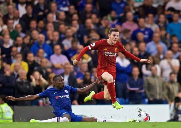 LONDON, ENGLAND - Sunday, September 22, 2019: Liverpool's Andy Robertson during the FA Premier League match between Chelsea's FC and Liverpool FC at Stamford Bridge. (Pic by David Rawcliffe/Propaganda)