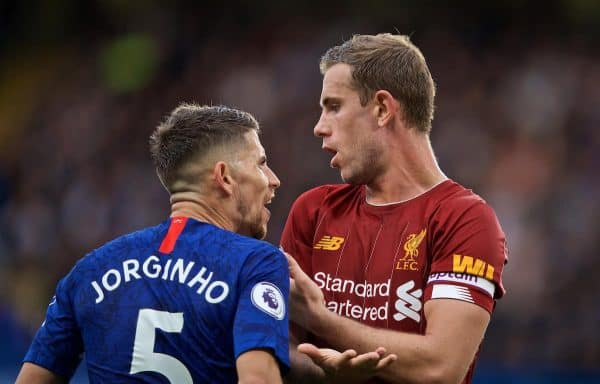 LONDON, ENGLAND - Sunday, September 22, 2019: Liverpool's captain Jordan Henderson (R) and Chelsea's Jorge Luiz Frello Filho 'Jorginho' during the FA Premier League match between Chelsea's FC and Liverpool FC at Stamford Bridge. (Pic by David Rawcliffe/Propaganda)