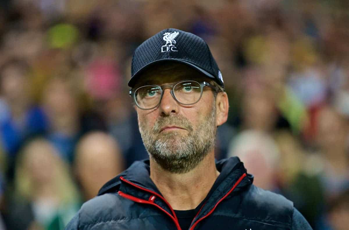 MILTON KEYNES, ENGLAND - Wednesday, September 25, 2019: Liverpool's manager Jürgen Klopp before the Football League Cup 3rd Round match between MK Dons FC and Liverpool FC at Stadium MK. (Pic by David Rawcliffe/Propaganda)