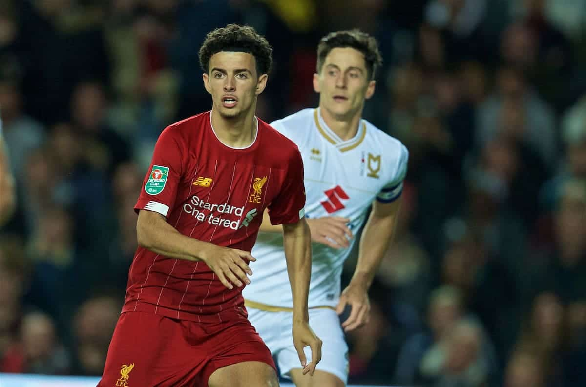 MILTON KEYNES, ENGLAND - Wednesday, September 25, 2019: Liverpool's Curtis Jones during the Football League Cup 3rd Round match between MK Dons FC and Liverpool FC at Stadium MK. (Pic by David Rawcliffe/Propaganda)