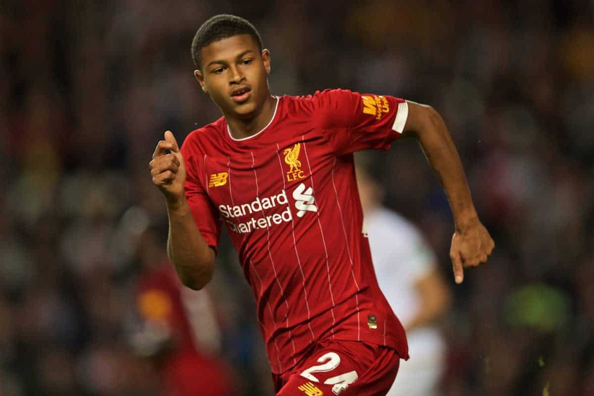 Liverpool's Rhian Brewster during the Football League Cup 3rd Round match between MK Dons FC and Liverpool FC at Stadium MK. (Pic by David Rawcliffe/Propaganda)