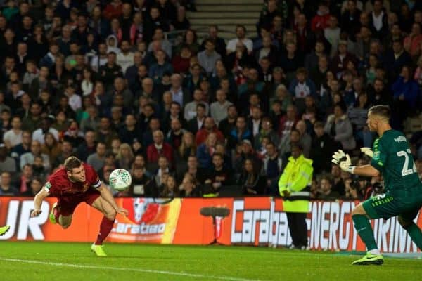 MILTON KEYNES, ENGLAND - Wednesday, September 25, 2019: Liverpool's James Milner sees his header go wide during the Football League Cup 3rd Round match between MK Dons FC and Liverpool FC at Stadium MK. (Pic by David Rawcliffe/Propaganda)