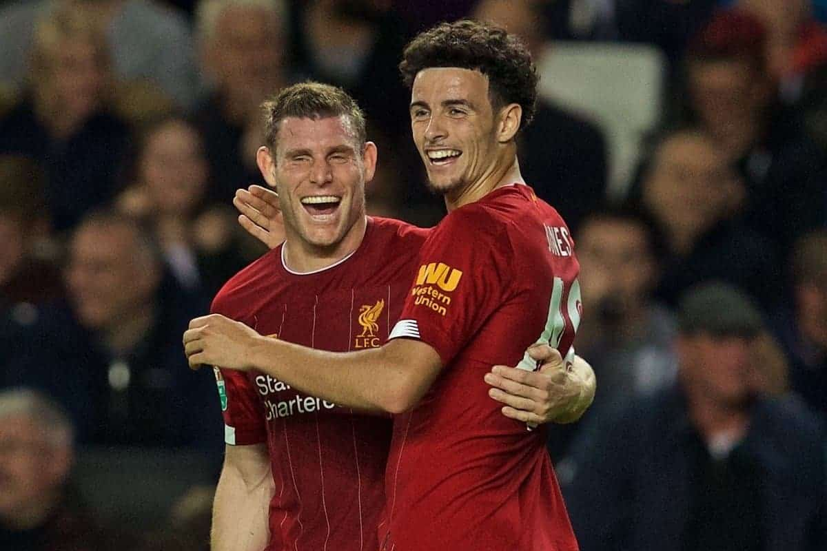 MILTON KEYNES, ENGLAND - Wednesday, September 25, 2019: Liverpool's James Milner celebrates scoring the first goal with team-mate Curtis Jones during the Football League Cup 3rd Round match between MK Dons FC and Liverpool FC at Stadium MK. (Pic by David Rawcliffe/Propaganda)