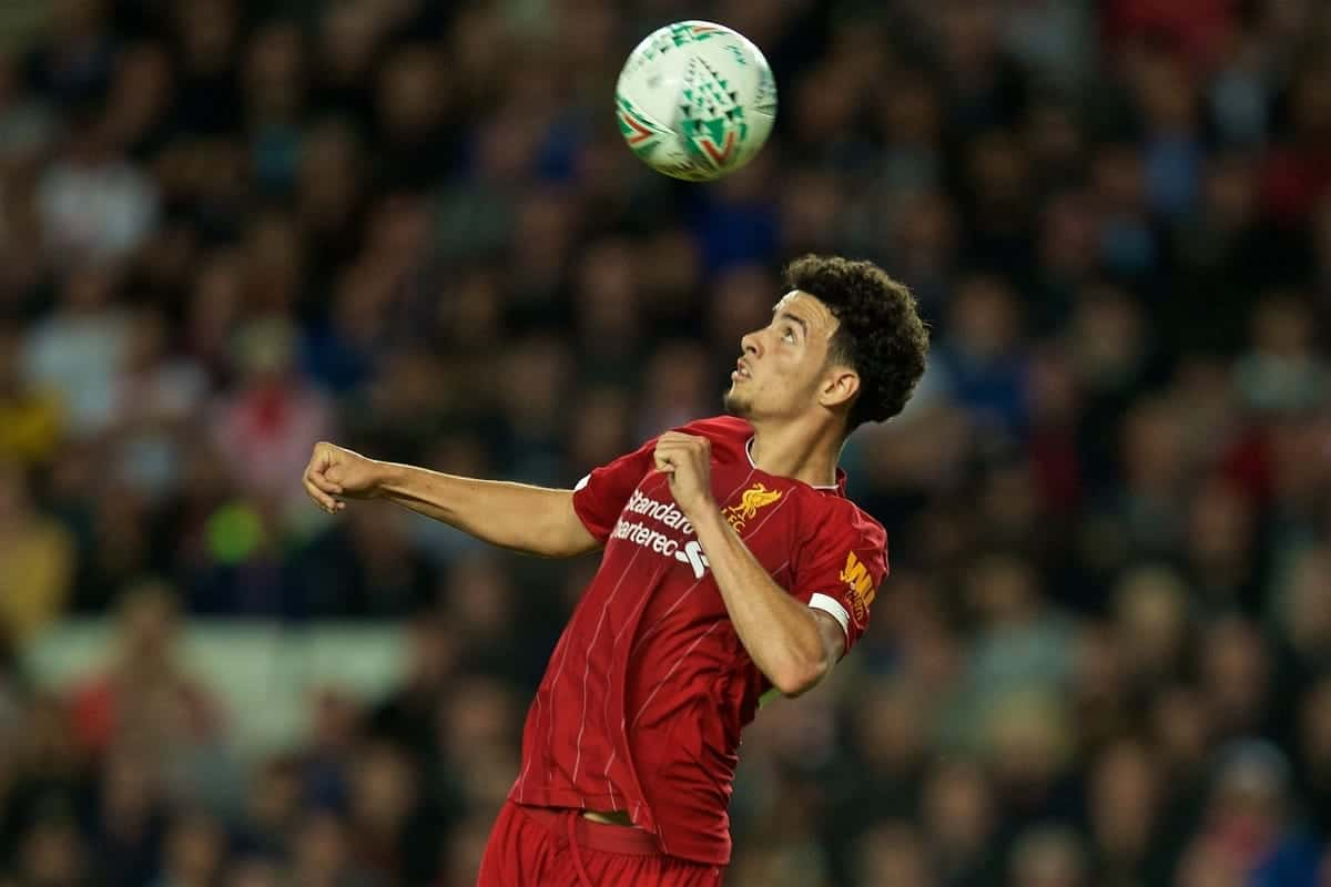 Liverpool's Curtis Jones during the Football League Cup 3rd Round match between MK Dons FC and Liverpool FC at Stadium MK. (Pic by David Rawcliffe/Propaganda)