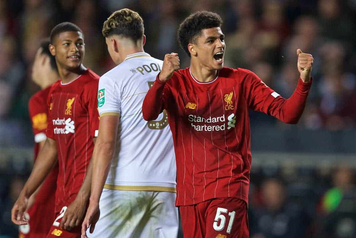 MILTON KEYNES, ENGLAND - Wednesday, September 25, 2019: Liverpool's Ki-Jana Hoever (L) celebrates scoring the second goal during the Football League Cup 3rd Round match between MK Dons FC and Liverpool FC at Stadium MK. (Pic by David Rawcliffe/Propaganda)
